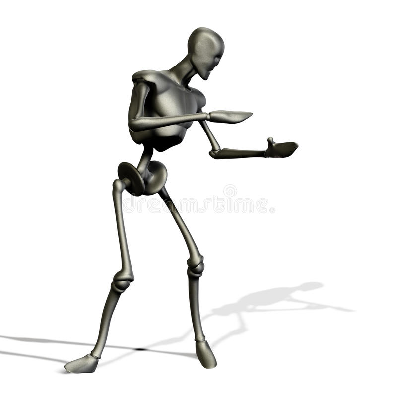 Metal Robot Holding Stock Photography