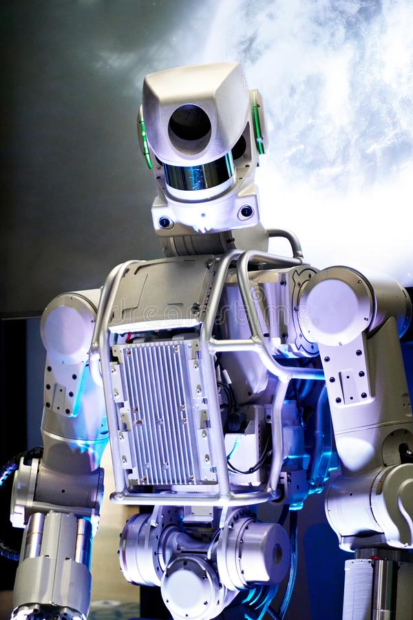 Metal robot on space background royalty free stock images