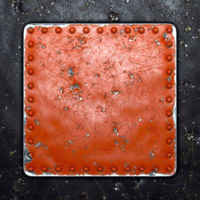 Metal rojo pintado con remaches en forma de cuadrado en el centro sobre fondo de metal negro 3d fotos de archivo libres de regalías