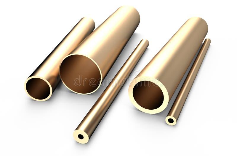 Metal rolado, tubo de bronze ilustração royalty free