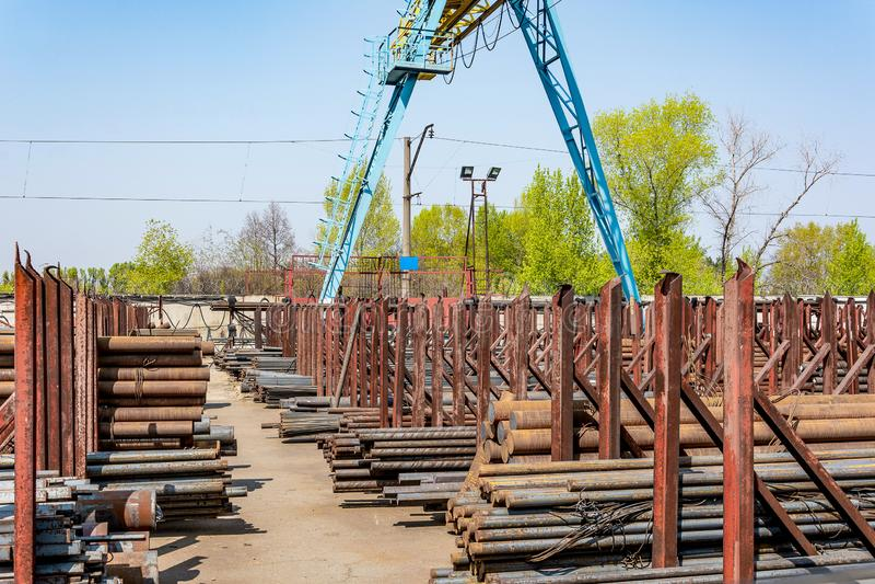 Metal rolling, outdoors, warehouse, base, storage stock photo