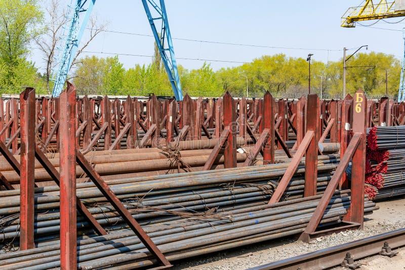 Metal rolling, outdoors, warehouse, base, storage royalty free stock image