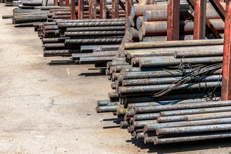 Metal rolling, outdoors, warehouse, base, storage royalty free stock photography