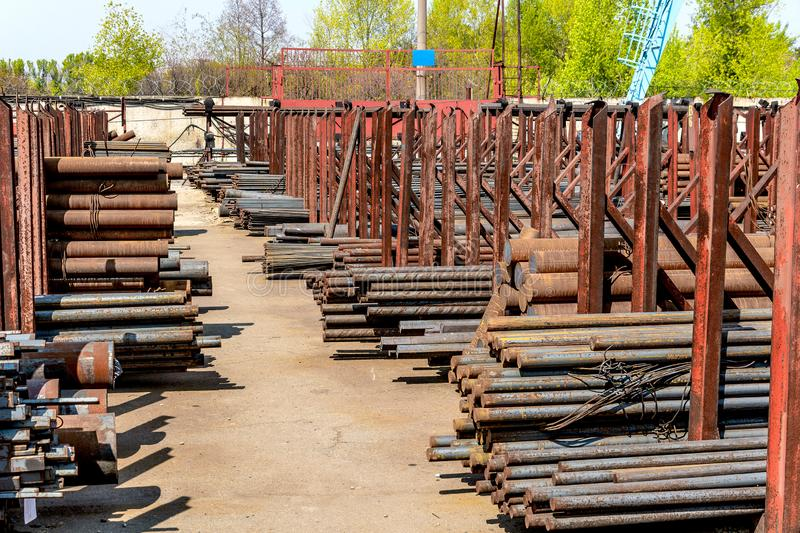 Metal rolling, outdoors, warehouse, base, storage stock photography