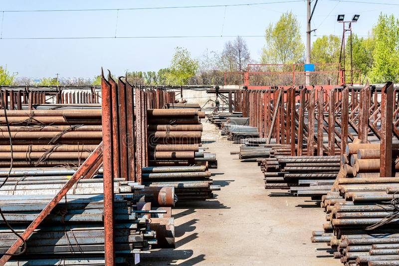 Metal rolling, outdoors, warehouse, base, storage stock photo