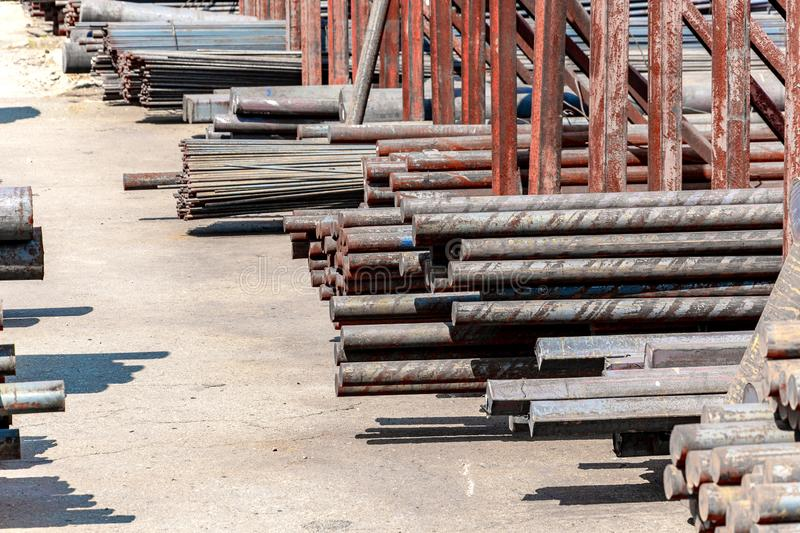 Metal rolling, outdoors, warehouse, base, storage royalty free stock images