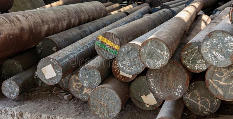 Metal rolling,  warehouse, base, storage, View from the front, end view, close-up. royalty free stock photos