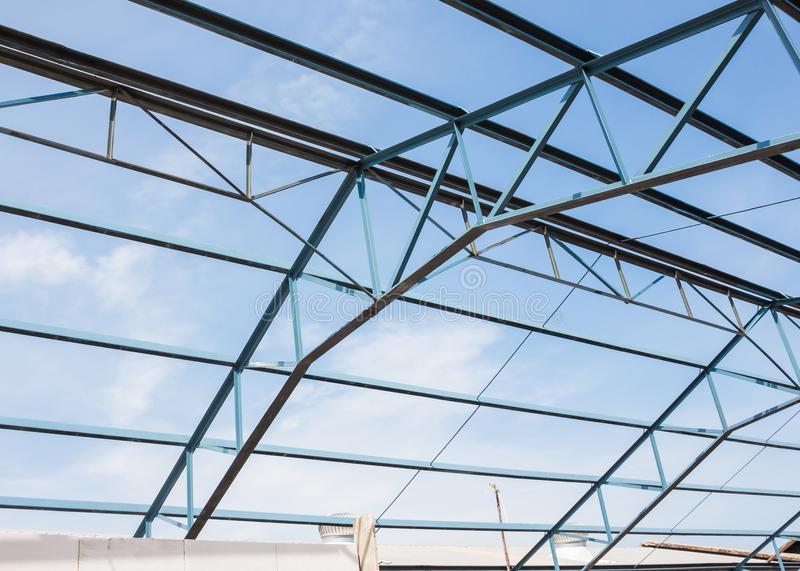 Metal Roof Truss Renovation Of Construction Stock Image Image Of Work Design 101604695