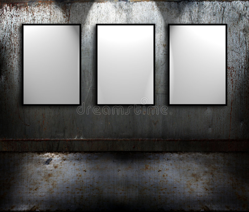 Metal room with signs vector illustration