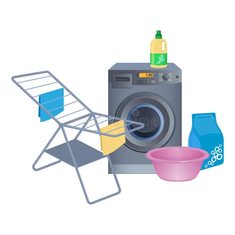 Metal a roupa que seca a cremalheira, máquina de lavar, limpando o pó no pacote ilustração do vetor