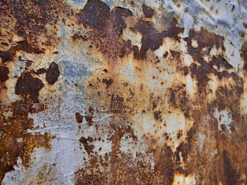 Metal rust texture, abstract grunge background, focus on left side stock photography