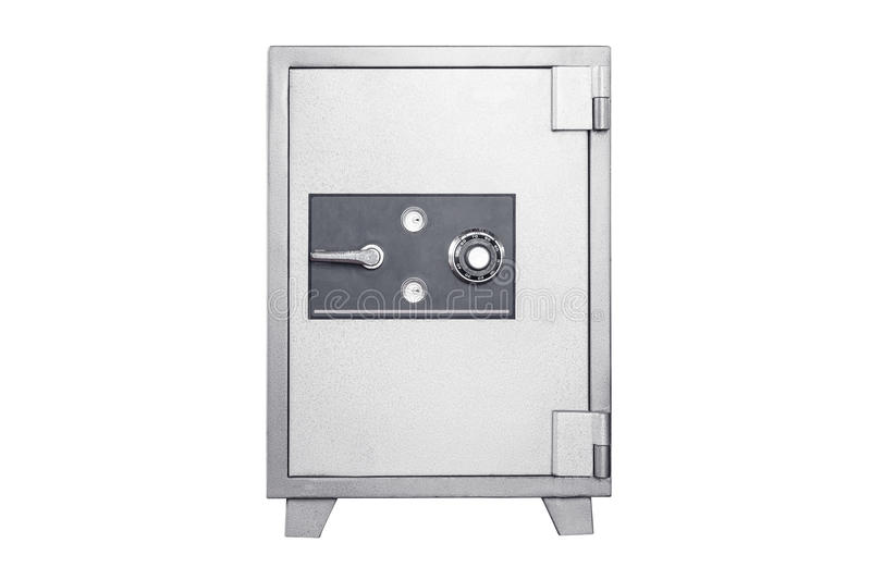 Metal safe deposit box on white background. stock images