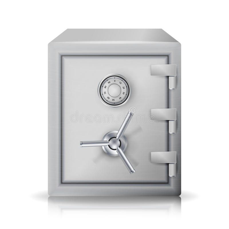 Metal Safe Realistic Vector. 3D Illustration. Icon Metal Box Isolated On White Background. Front View. vector illustration