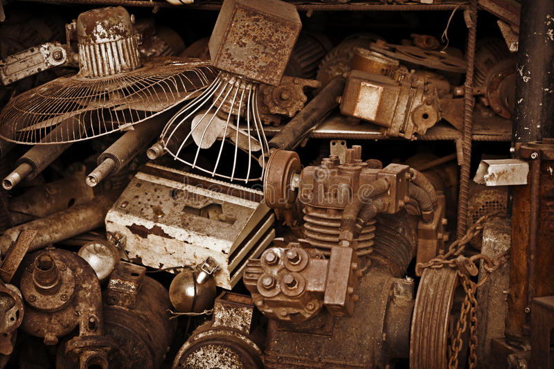 Metal scrap. Old iron trash in a landfill - metal scrap stock photography