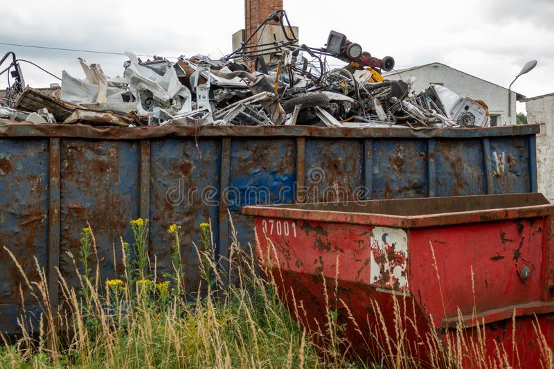 Metal scrap is located in large container. S royalty free stock image