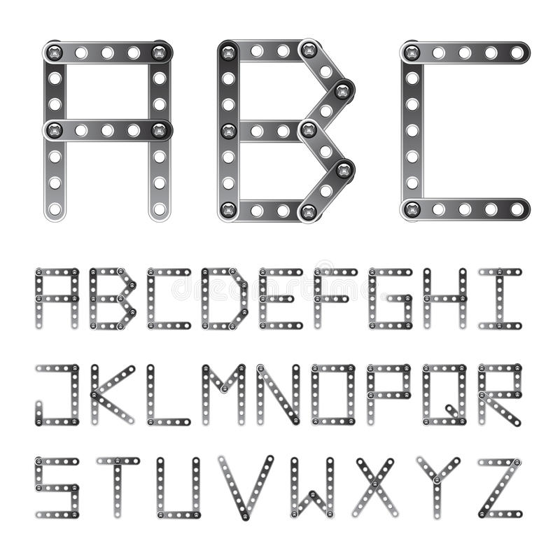 Free Metal Screwed Alphabet Font Royalty Free Stock Images - 22444309