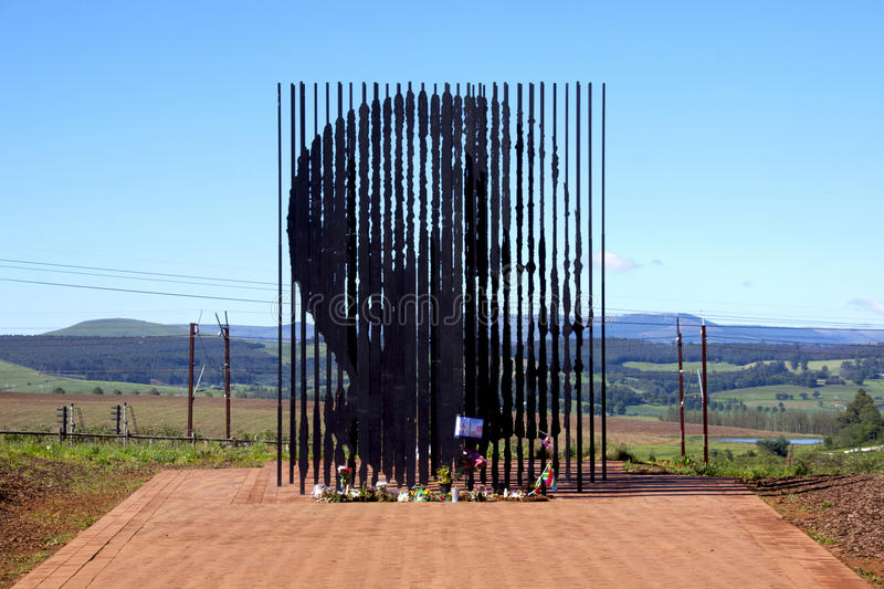 Metal Sculpture Of Nelson Mandela At His Capture Site. Howick, KwaZulu-Natal, South Africa - 30 December 2013: Metal sculpture of Nelson Mandela at the site stock images
