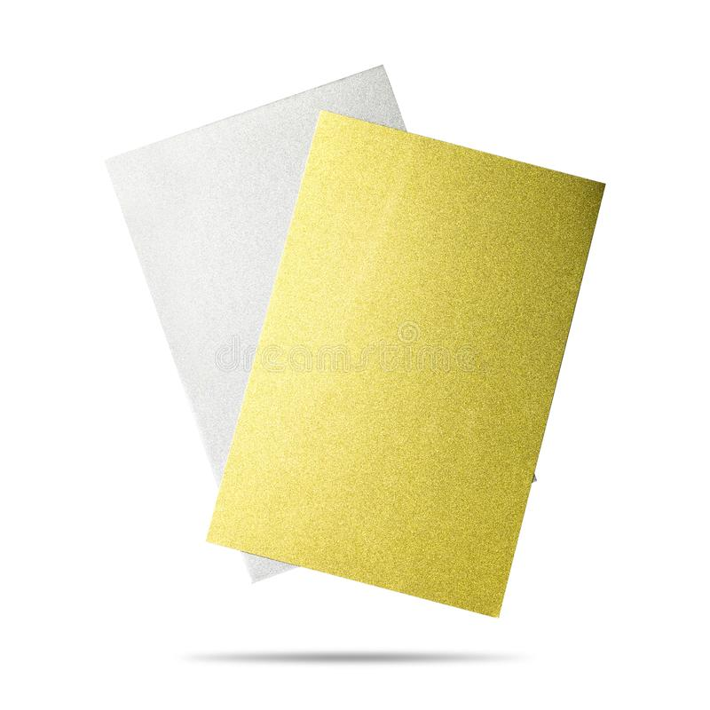 Metal sheet board isolated on white background. Glitter material. Clipping path. Metal sheet board isolated on white background. Glitter material royalty free illustration