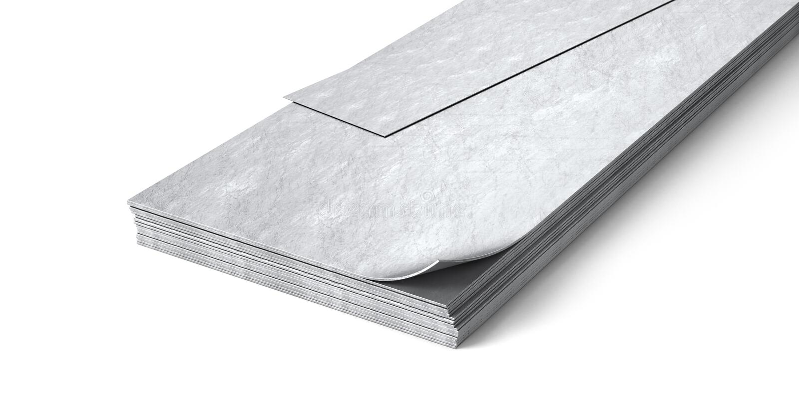 Metal sheets isolated on white background. 3d illustration royalty free illustration