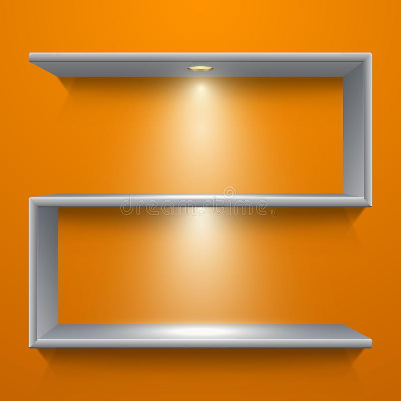 Metal shelf design with illumination on yellow background vector illustration