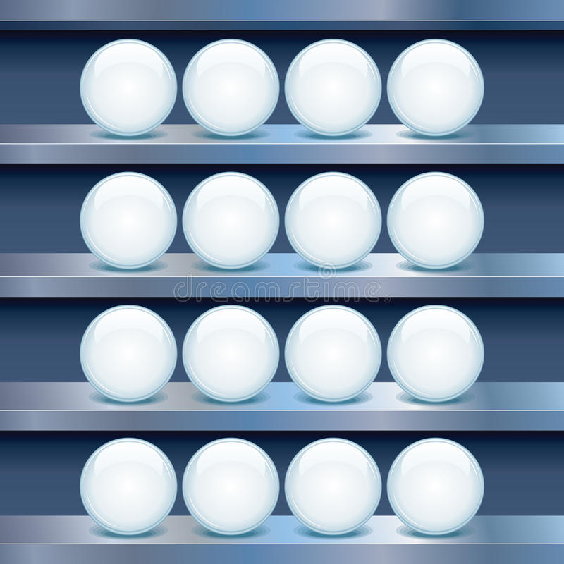 Metal Shelf with Empty Glass Buttons. Vector Image royalty free illustration