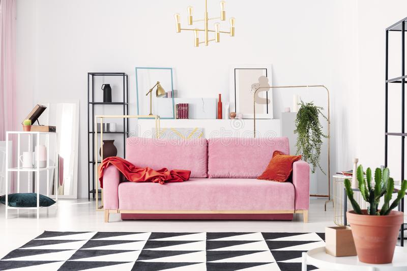 Metal shelves and abstract paintings behind powder pink couch in elegant white living room. Real photo stock image