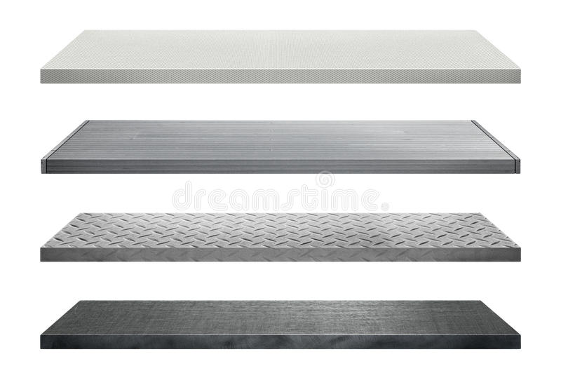 Metal shelves made of steel isolated on white background. For display royalty free stock image