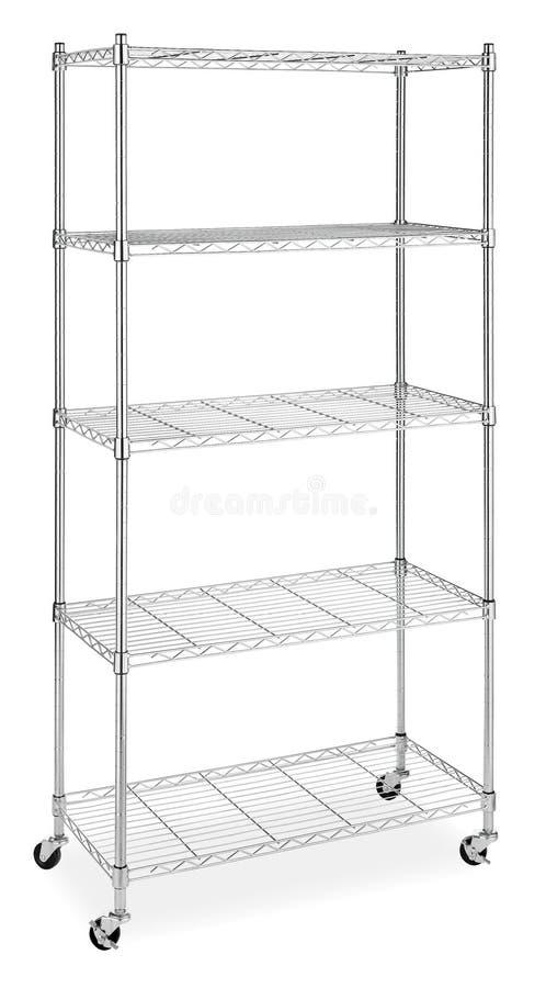 Metal shelves rack. Five shelves metal rack isolated stock image