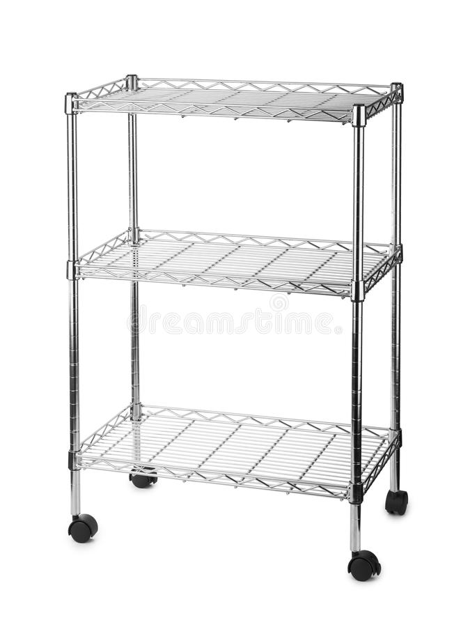 Metal shelves rack. Isolated on white background stock photography
