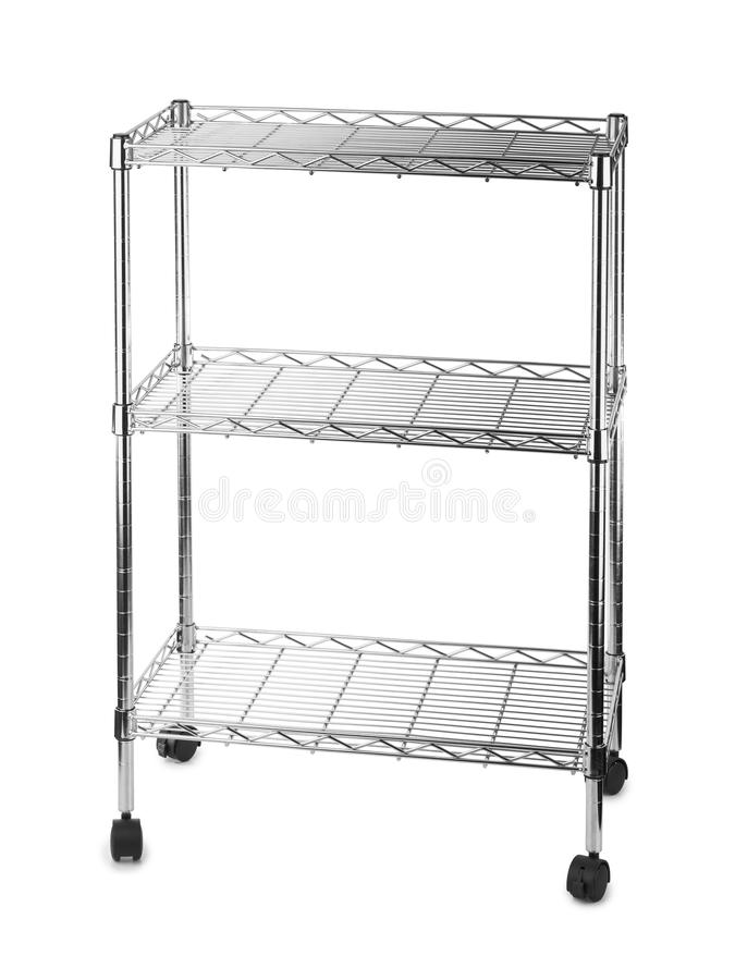 Metal shelves rack. Isolated on white background royalty free stock photography