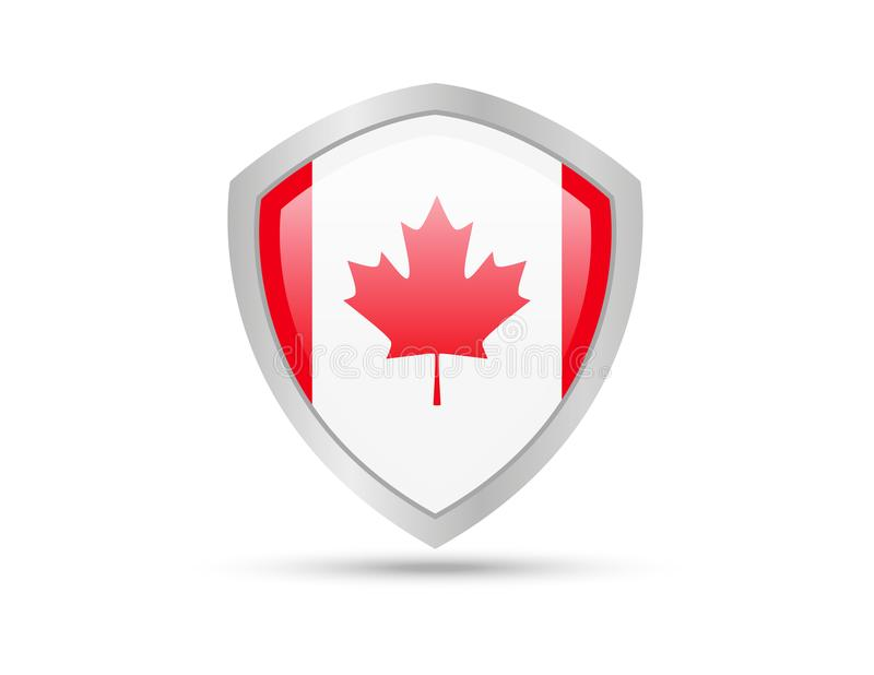 Metal shield with Canada flag on white background. stock illustration
