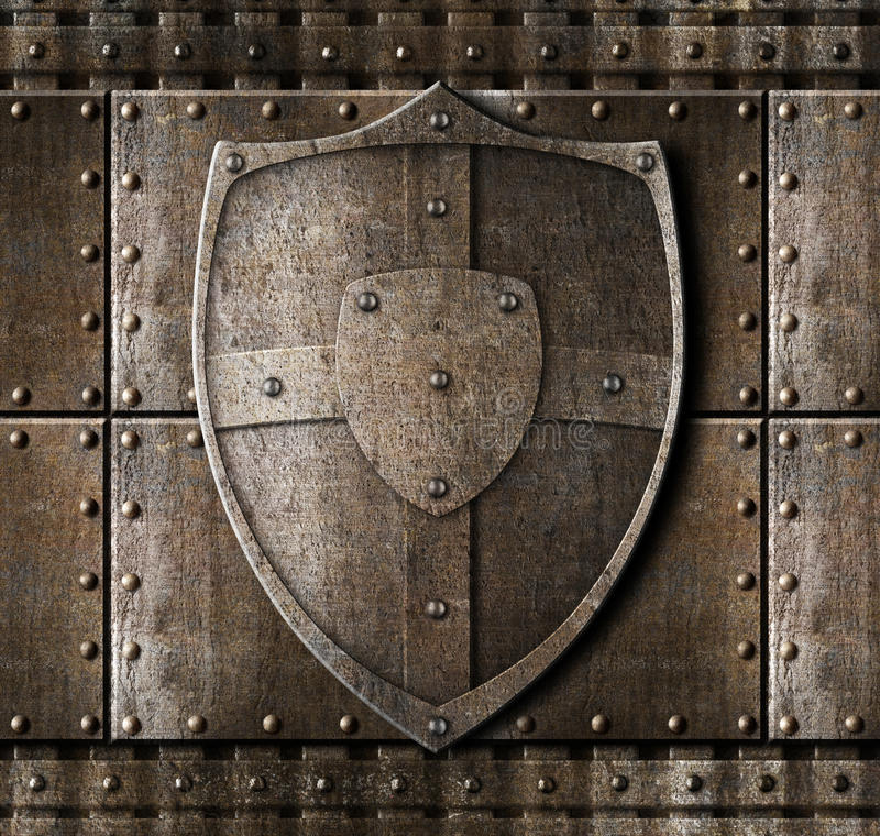 Metal Shield Over Armour Background Stock Illustration