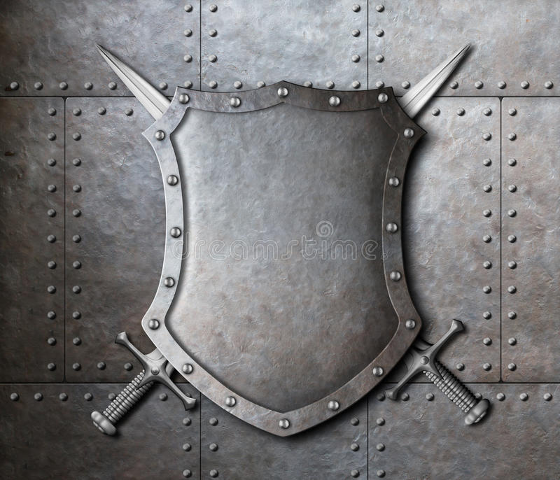 Metal shield and two crossed swords coat of arms. Metal shield and two crossed swords over armor plates background royalty free stock photo