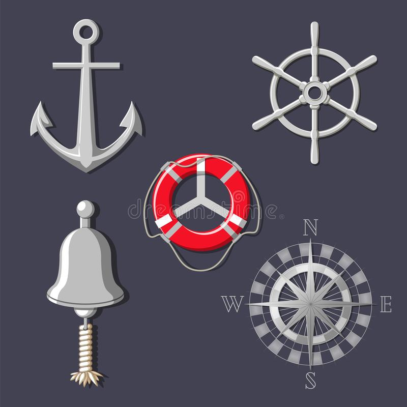 Metal ship`s wheel, boat bell, compass rose, anchor and lifebuoy vector illustration