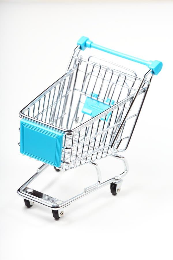 Metal shopping cart royalty free stock photo
