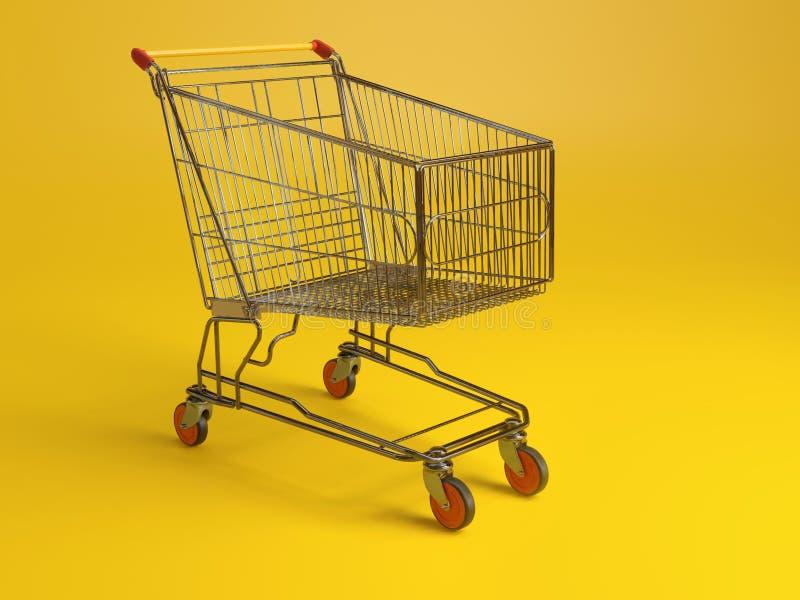 Metal shopping cart royalty free stock photography