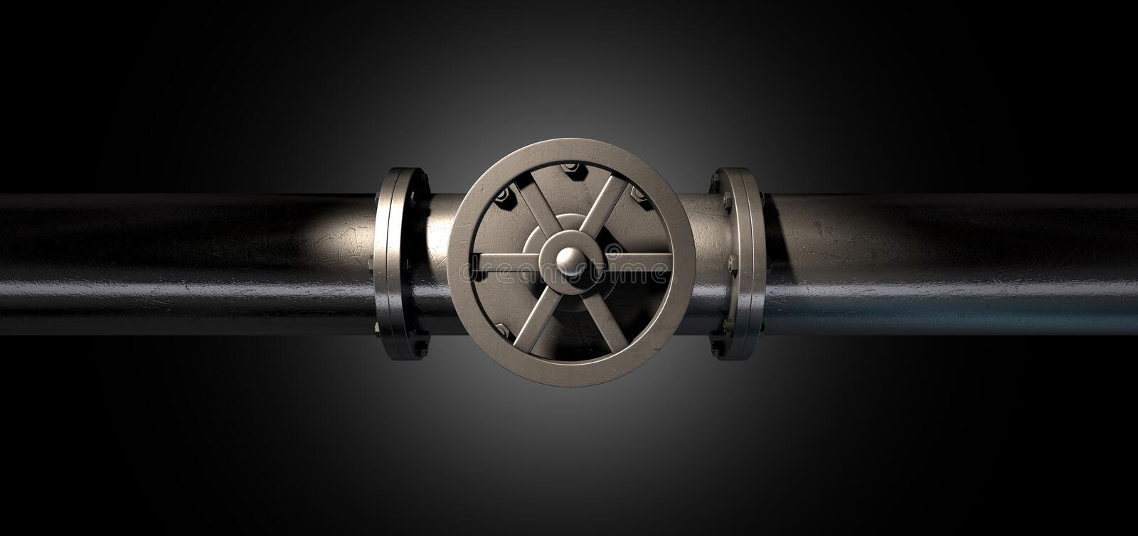 Metal Shutoff Valve. A metal shutoff valve attached to a metal pipe with bolts on an isolated dark background royalty free stock image