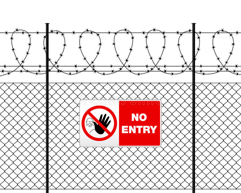 Metal sign NO ENTRY on barbed wire fence. Fence with barbed wire and sign NO ENTRY. Metal sign NO ENTRY on metal fence with barbed wire. Wire fence isolated on royalty free illustration