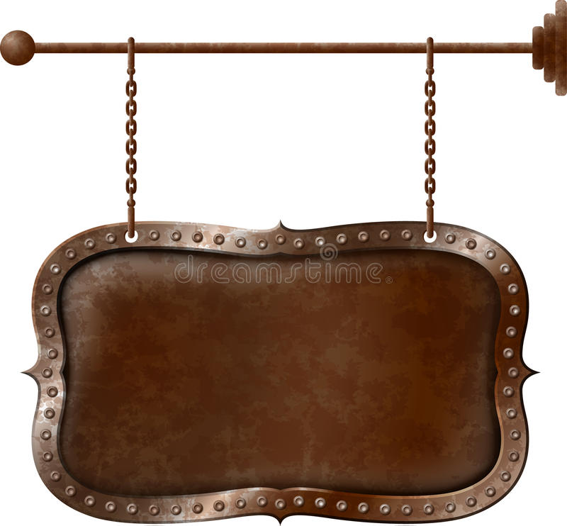Metal signboard on chains. Old rusty metal signboard on the chains royalty free illustration
