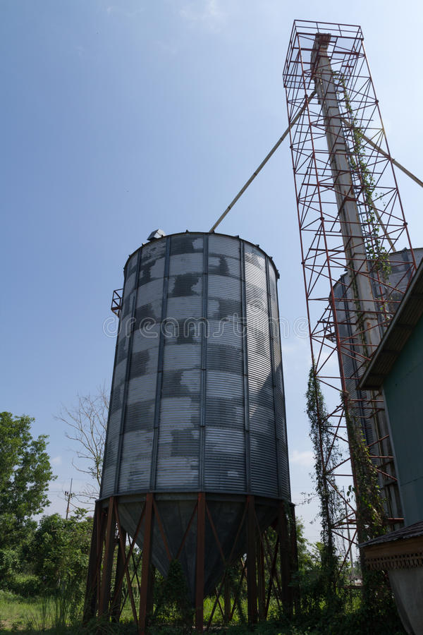 Metal silo. For agriculture granary in Thailand royalty free stock photography