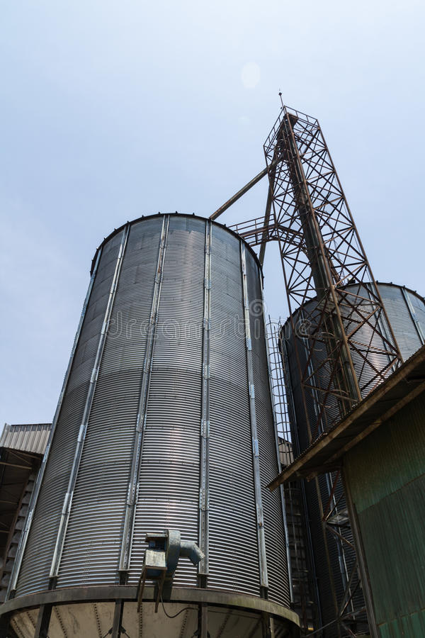 Metal silo. For agriculure granary in Thailand stock photos