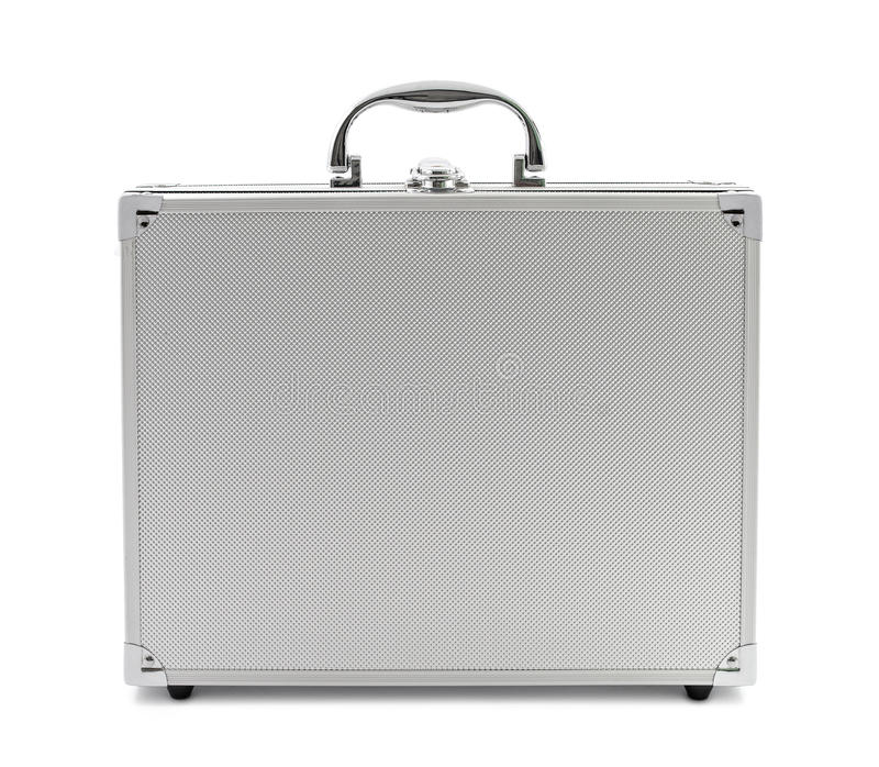 Metal silver briefcase royalty free stock photography
