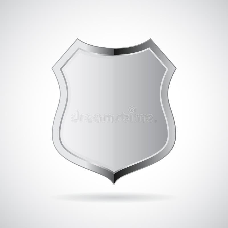 Metal silver shield icon stock illustration
