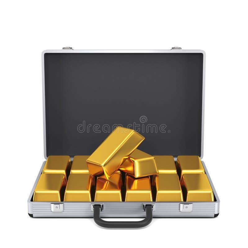 Metal skrzynka z złocistymi barami ilustracji