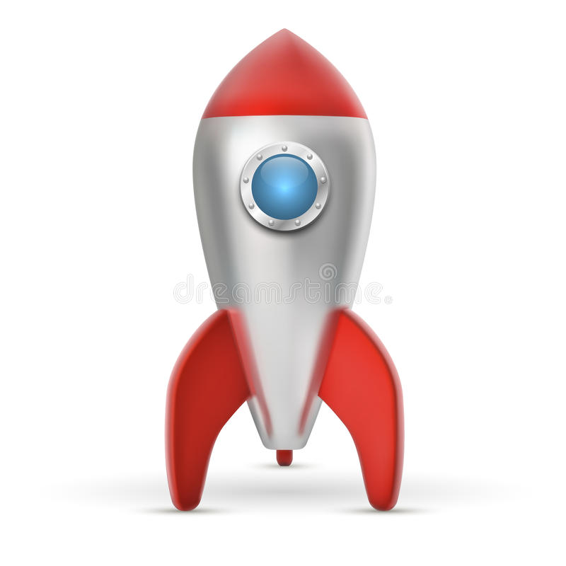 Metal space ship with red wings stock illustration