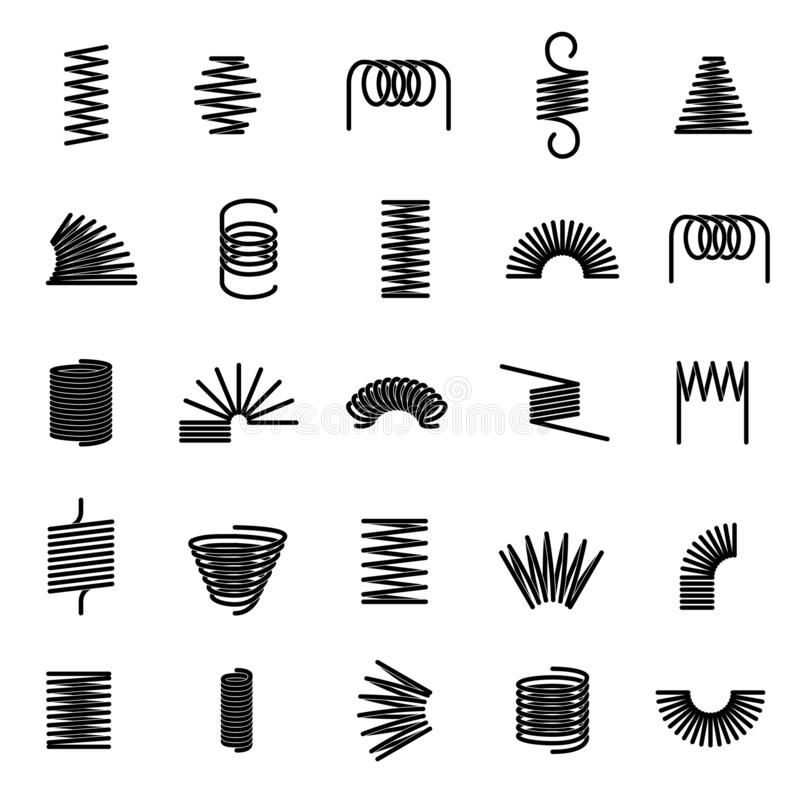 Metal springs. Twisted spiral, flexible coil wire suspension black spring vector line icons. Set royalty free illustration