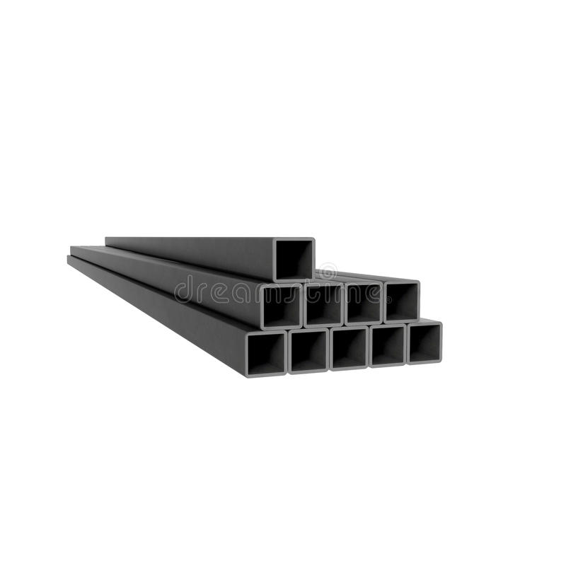 Metal square bars. Pile of metal square beams at white background royalty free illustration