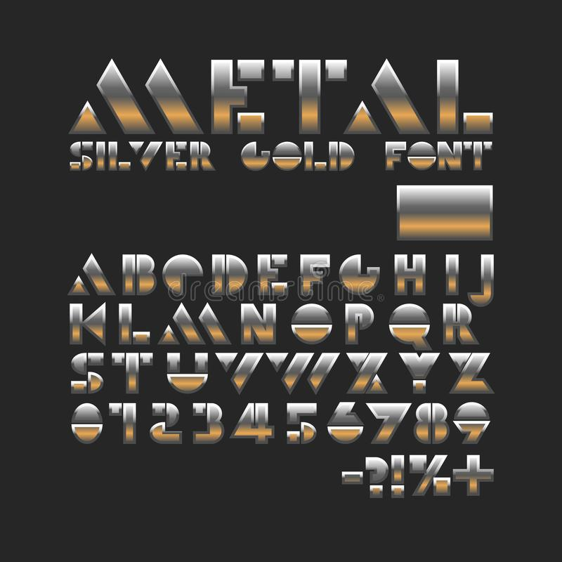 Metal srebna złocista chrzcielnica Matrycuje abecadło Błyszczący geometryczni listy i liczby royalty ilustracja