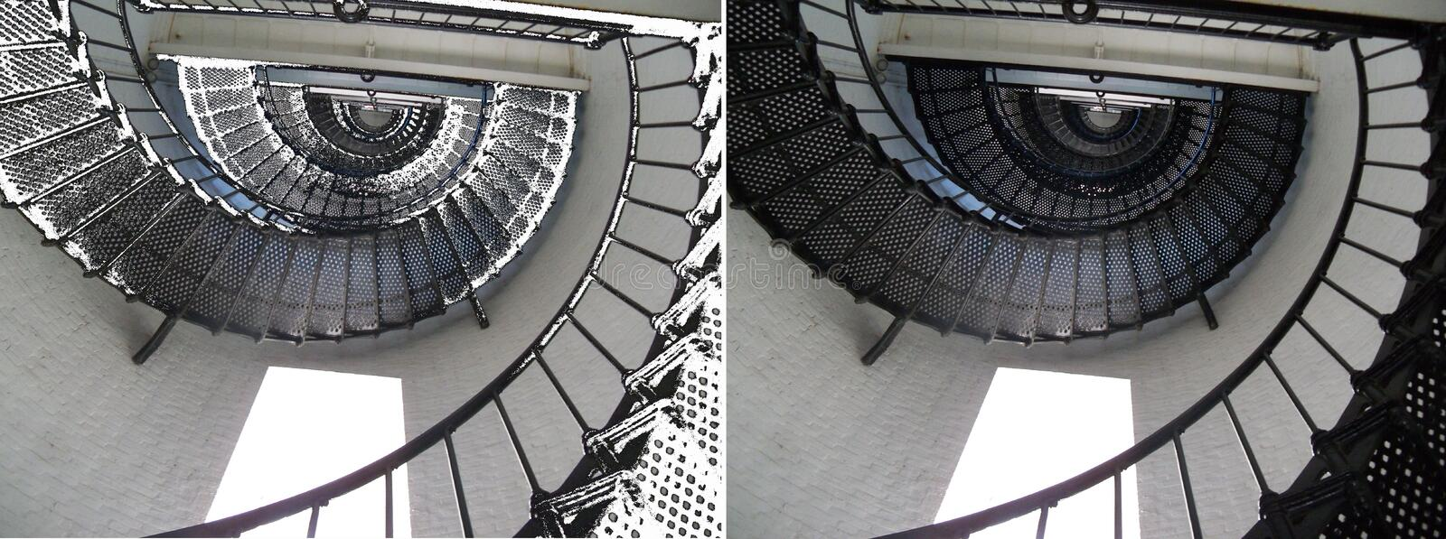 A metal staircase winds upwards in two photos side by side. A black metal staircase winds upward as far as the eye can see in two photos side by side stock images