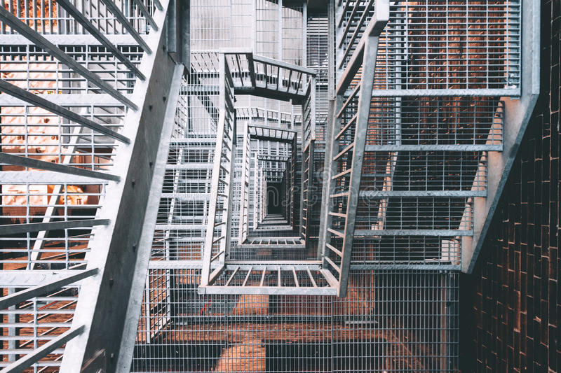 Metal stairwell royalty free stock image